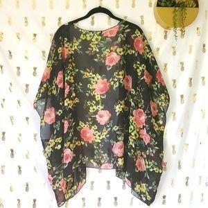 Color Swatch Plus Size Floral Sheer Kimono 2XL